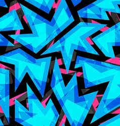 blue neon geometric seamless pattern vector image