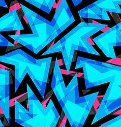Blue neon geometric seamless pattern vector