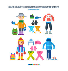 boy and girl in winter clothing in cold weather vector image