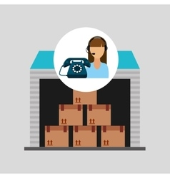 Call centre woman working storage package vector