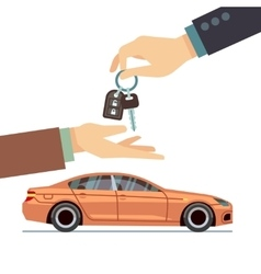 Car seller hand giving key to buyer Buying or vector image