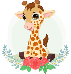 cartoon bagiraffe sitting with flowers vector image