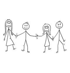 cartoon four children boys and girls walking vector image