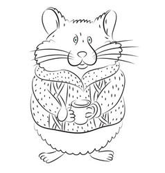 cartoon image of cute hamster vector image