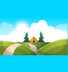 cartoon landscape tent sun fir cloud road vector image