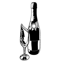 Champagne bottle and flute black and white alcohol vector