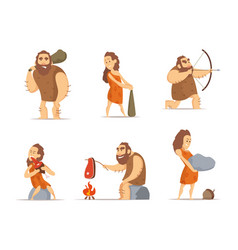 Characters of male and female primitive cave vector