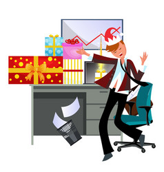 cheerful young guy dancing in office in suit vector image