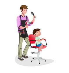 Children barber with little boy vector