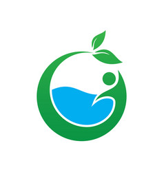 circle leaf water eco logo vector image