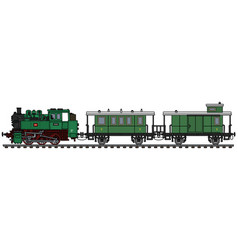 Classic green personal steam train vector