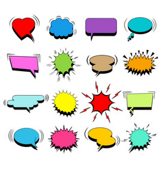 Comic colorful blank speech bubbles set vector
