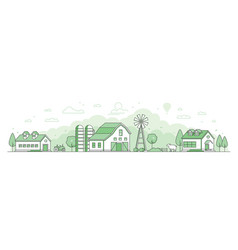 country landscape - thin line design style vector image