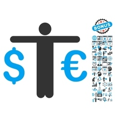Currency Trader Flat Icon With Bonus vector