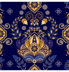 Dark blue indian seamless pattern vector image