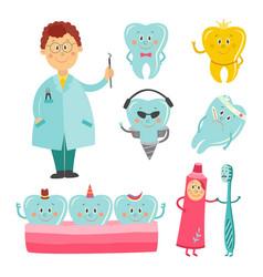 Dental healthcare and prosthetics cartoon vector