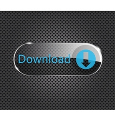 download glass button on metal background vector image