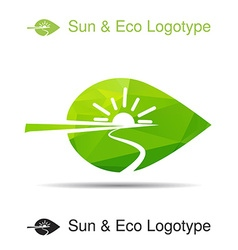 Ecology logotype icon and nature symbol sun river vector
