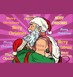 elf makes santa claus tattoo happy new year vector image