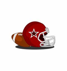 equipment of american footbal helmet and ball vector image