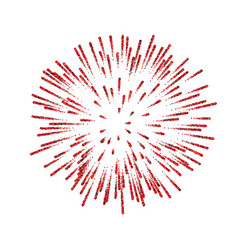 Firework isolated beautiful red salute on white vector