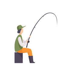 fisherman sitting on the shore and fishing with a vector image