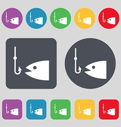 Fishing icon sign A set of 12 colored buttons Flat vector image
