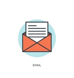Flat email lined icon vector image