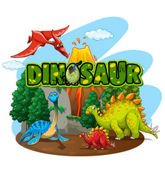 Font design for word dinosaur with many dinosaurs vector