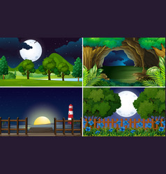 Four scenes at night time vector