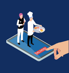 Fresh hot food and drinks mobile delivery service vector