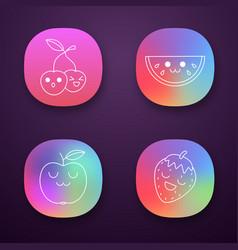 Fruits cute kawaii app characters set vector