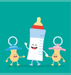funny baby milk bottle and baby nipple vector image