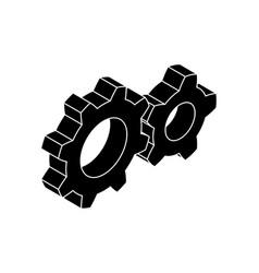 Gear wheels black isometric icons vector