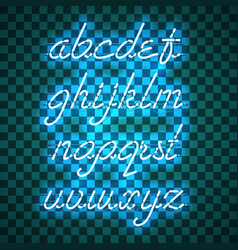 Glowing blue neon lowercase script font vector