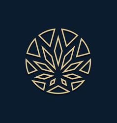 golden cannabis as a logo design vector image