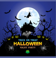 halloween night party blue holiday festival vector image
