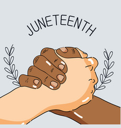 Hands together to celebrate freedom day vector