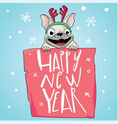 happy 2018 new year card funny pug congratulates vector image vector image