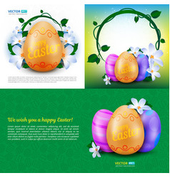 happy easter holidays set greeting cards vector image