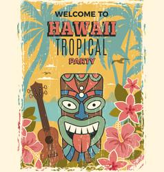 Hawaii poster summer dance party invitation tiki vector