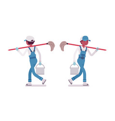 Male janitor walking rear and front view vector