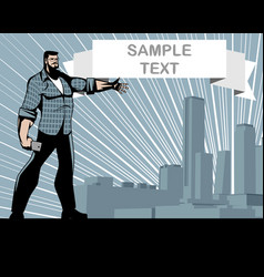 Man pointing to the building vector