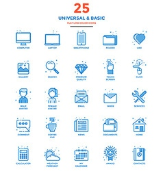 Modern Flat Line Color Icons Universal and Basic vector