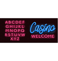 neon banner alphabet font bricks wall casino vector image