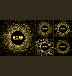 new year 2019 card gold backgrounds set vector image