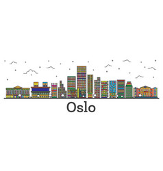 Outline oslo norway city skyline with color vector