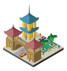 Pagoda architectural arch roadway benches vector