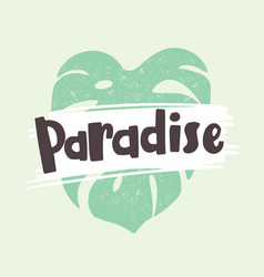 paradise word written with modern font and vector image