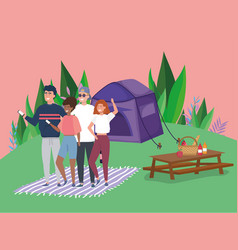 people using mobile tablet food tent blanket vector image